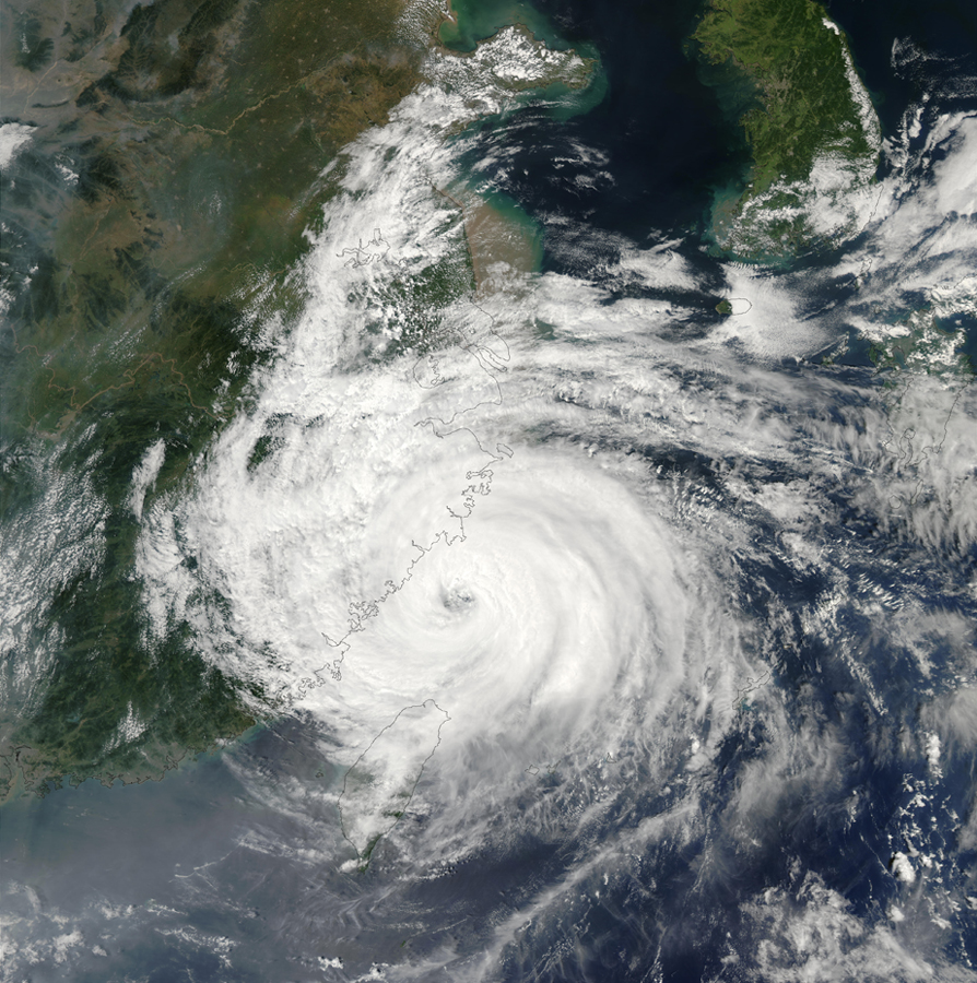 Orbital photo of large swilring cyclone making landfall