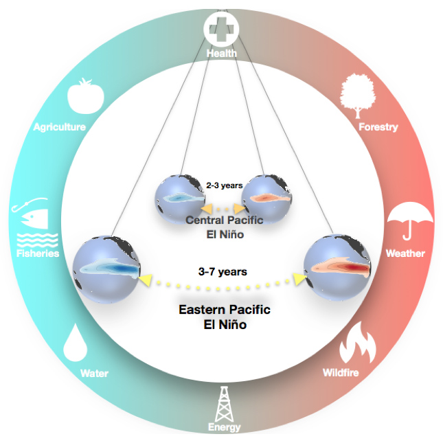 Graphic depicting two ENSO-affecting cycles as different length pendulums